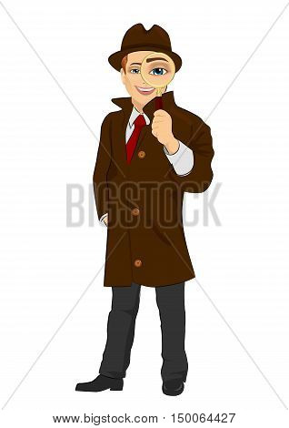 detective man looking through a magnifying glass isolated over white background