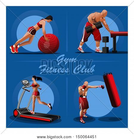 People trained in the gym. Girl with red fitness ball. Muscular Bodybuilder with dumbbells. Fighter training with a punching bag. Girl on the treadmill. Vector illustration for gyms fitness centers
