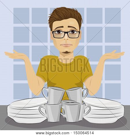 sad man with glasses throws up his hands because of dirty dishes pile needing washing up