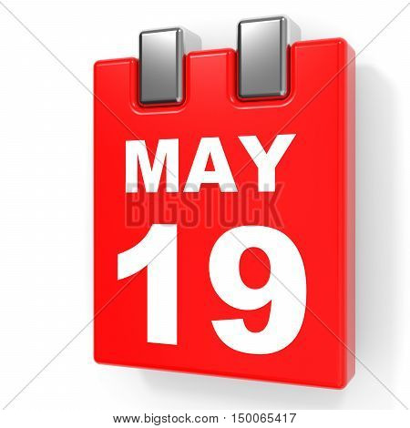 May 19. Calendar On White Background.
