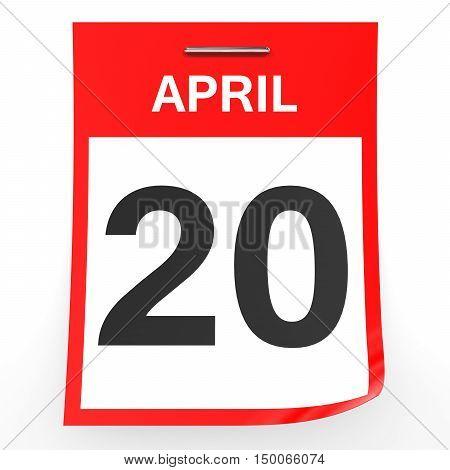 April 20. Calendar On White Background.