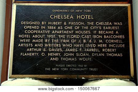 New York City - July 24 2009: Landmarks of NY historic sign in front of the landmark Chelsea Hotel on West 23rd Street