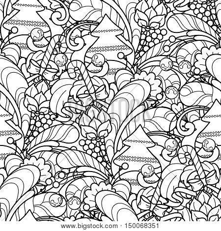 Seamless pattern in doodle style. Floral, ornate, decorative, tribal, Christmas design elements. Black and white background. Christmas tree, candy. Zentangle hand drawn coloring book page