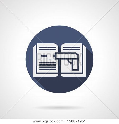 White silhouette of open book with gun image. Detective stories, adventures and investigation. Literary genres. Symbol for web library, ebook store. Blue round flat design vector icon.