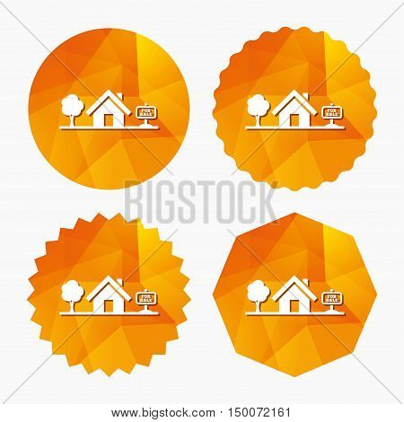 Home sign icon. House for sale. Broker symbol. Triangular low poly buttons with flat icon. Vector