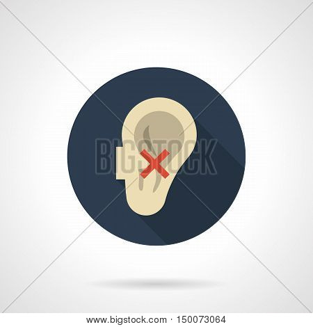 Abstract human ear and red crossed sign. Harmful effects of smoking on the senses. Hearing impairment and other problems. Round flat color design vector icon.