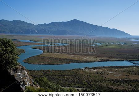 Wonderful landscape of Dalyan and its river,Turkey
