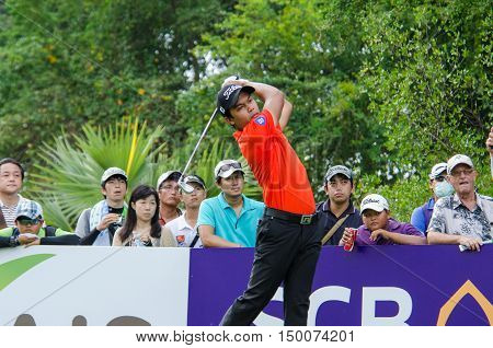 CHONBURI - DECEMBER 13 : Natipong Srithong of Thailand player in Thailand Golf Championship 2015 at Amata Spring Country Club on December 13 2015 in Chonburi Thailand.