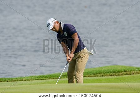 CHONBURI - DECEMBER 13 :Satoshi Kodaira of Japan player in Thailand Golf Championship 2015 at Amata Spring Country Club on December 13 2015 in Chonburi Thailand.