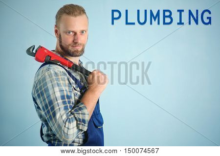 Plumbing concept. Portrait of handsome plumber with pipe wrench on light background