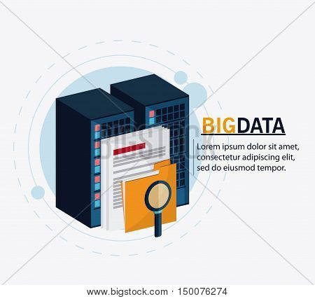 Document file and lupe icon. Big data center base and web hosting theme. Colorful design. Vector illustration