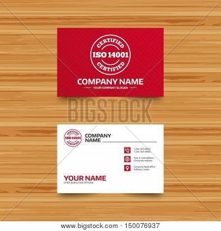 Business card template. ISO 14001 certified sign icon. Certification stamp. Phone, globe and pointer icons. Visiting card design. Vector