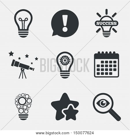 Light lamp icons. Circles lamp bulb symbols. Energy saving with cogwheel gear. Idea and success sign. Attention, investigate and stars icons. Telescope and calendar signs. Vector