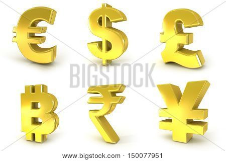 Currency golden signs. 3D render illustration isolated on white background