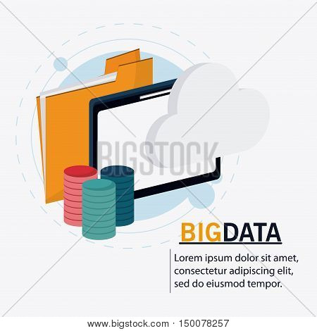 Tablet file and cloud icon. Big data center base and web hosting theme. Colorful design. Vector illustration