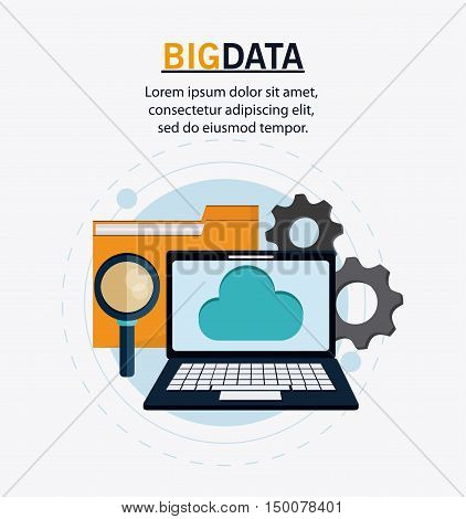 Laptop cloud gears lupe and file icon. Big data center base and web hosting theme. Colorful design. Vector illustration