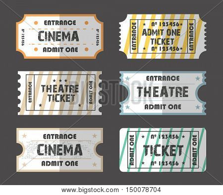 A collection of eleven vector grunted  tickets set Retro. Vector illustration. Collection vintage Coupons. Tickets for various events: festival, cinema, circus, theater, attractions. Entry tickets.