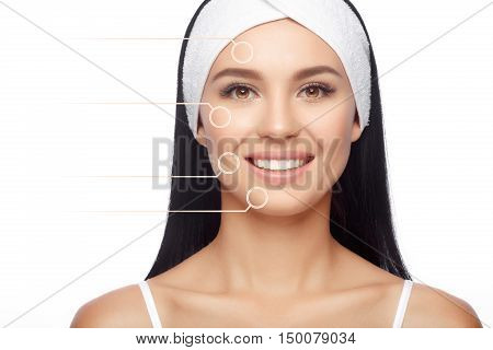 Female face with zoom circles. Closeup Happy Woman in Hairband, her Face with a Perfectly Clean Skin. Happy Woman after Bath with Clean Perfect Skin. Skin Care, Cosmetics and Makeup Concept.