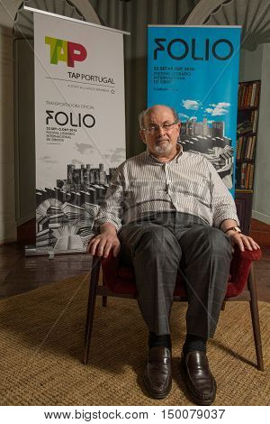Obidos Portugal. 30 September 2016. British writer Salman Rushdie in Obidos for attending a conference at the FOLIO International Literary Festival of Obidos. Obidos Portugal. photography by Ricardo Rocha.