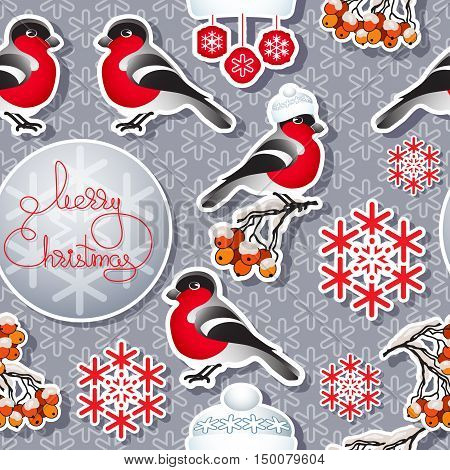 Vector  winter seamless pattern. Include bullfinch, hat, snowflake, rowan branch and handwritten words Merry Christmas.  Template for your design.
