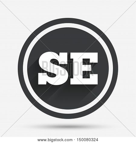 Swedish language sign icon. SE Sweden translation symbol. Circle flat button with shadow and border. Vector