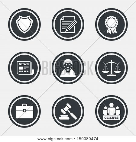 Lawyer, scales of justice icons. Clients, auction hammer and law judge symbols. Newspaper, award and agreement document signs. Circle flat buttons with icons and border. Vector