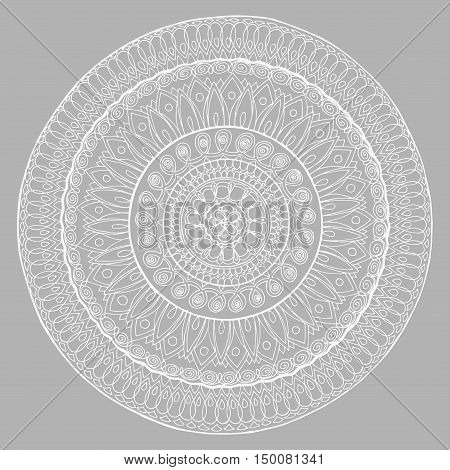 The Abstract Circle Of The Lines. Mandala. Line Art. Black And White Drawing By Hand.   Ornaments. Z