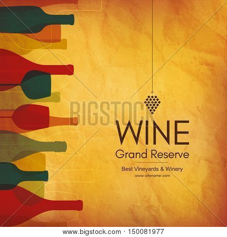 Wine list design. Vector brochure template for wine shop, winery, wine list, cafe, restaurant, bar. Wine bottles and wine glasses