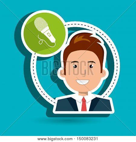 man microphone audio speak vector illustration eps 10