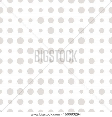 Gray and white seamless pattern with grunge halftone dots. Dotted texture. Halftone dots background. Polka dot infinity. Abstract geometrical pattern of round shape. Screen print. Vector illustration.