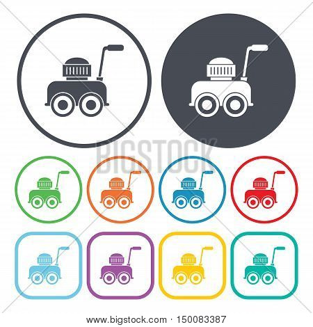 lawnmower icon on white background for web