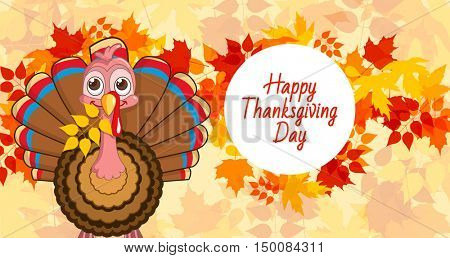 cartoon of turkey bird for Happy Thanksgiving celebration. Vector illustration of happy Thanksgiving turkey