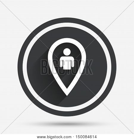 Map pointer user sign icon. Person location marker symbol. Circle flat button with shadow and border. Vector