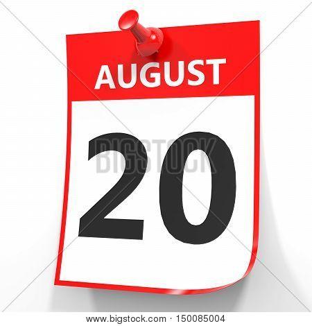August 20. Calendar On White Background.