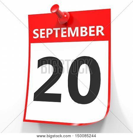 September 20. Calendar On White Background.