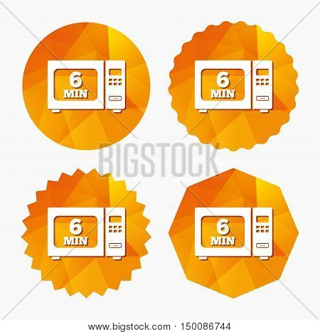 Cook in microwave oven sign icon. Heat 6 minutes. Kitchen electric stove symbol. Triangular low poly buttons with flat icon. Vector
