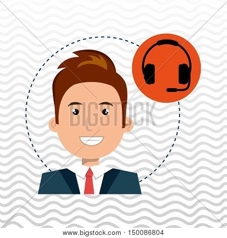 man headphone isolated icon design, vector illustration graphic
