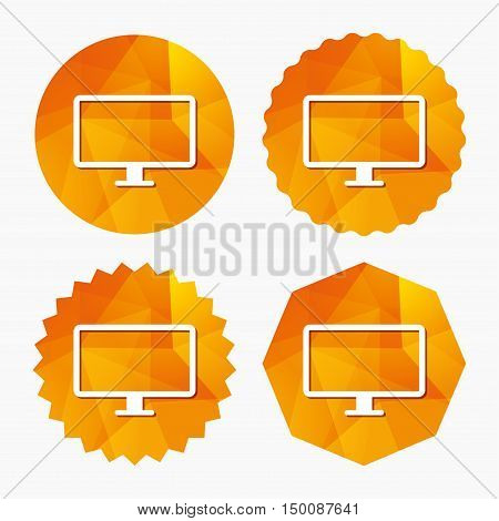 Computer widescreen monitor sign icon. Triangular low poly buttons with flat icon. Vector