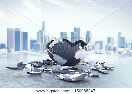 Broken planet on city background. Global problems and risks. 3D Rendering