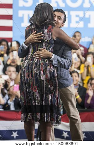 16 September 2016 - Fairfax USA - First Lady Michelle Obama campaigns for Hillary Clinton in Fairfax George Mason University.