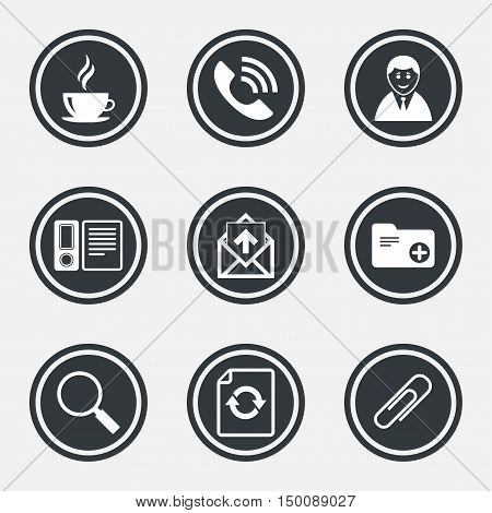 Office, documents and business icons. Coffee, phone call and businessman signs. Safety pin, magnifier and mail symbols. Circle flat buttons with icons and border. Vector