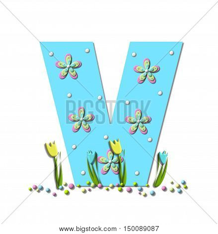 Alphabet letter V in the set Spring Explodes is covered by polka dots and 3d flowers. Colored pastel sprinkles are at base of letter and tulips bloom in two colors.