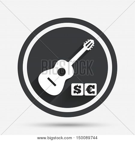 Acoustic guitar sign icon. Paid music symbol. Circle flat button with shadow and border. Vector