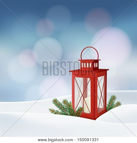 Christmas greeting card invitation. Winter scene with red lantern burning candle Christmas tree branches twigs and snow. Holiday decoration. Vector illustration