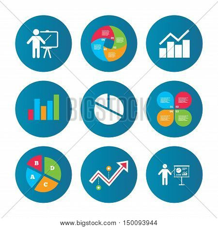 Business pie chart. Growth curve. Presentation buttons. Diagram graph Pie chart icon. Presentation billboard symbol. Man standing with pointer sign. Data analysis. Vector