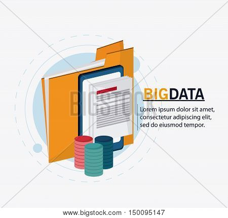File smartphone and document icon. Big data center base and web hosting theme. Colorful design. Vector illustration