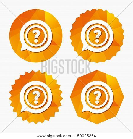 Question mark sign icon. Help speech bubble symbol. FAQ sign. Triangular low poly buttons with flat icon. Vector