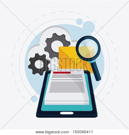 Smartphone gears cloud envelope document and lupe icon. Big data center base and web hosting theme. Colorful design. Vector illustration