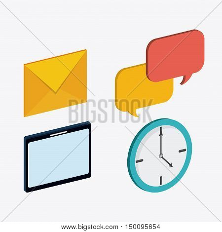 Envelope bubble tablet and clock icon. Big data center base and web hosting theme. Colorful design. Vector illustration