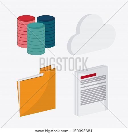 File document and cloud icon. Big data center base and web hosting theme. Colorful design. Vector illustration